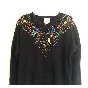 Sweaters - 🎄Ugly sweater contest! Lg beaded w/shoulder pads